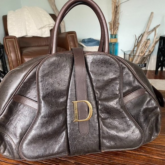 Christian Dior Brown Ostrich Leather Double Saddle